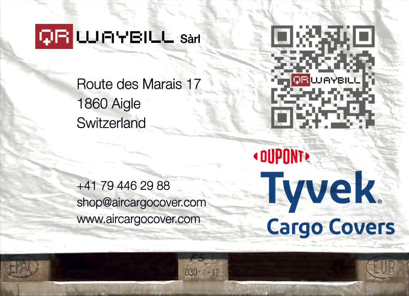 QR code Air Cargo Cover Housses de protection DUPONT ™ TYVEK ® SOLAR ™  Palettes de transport EUR UK/USA